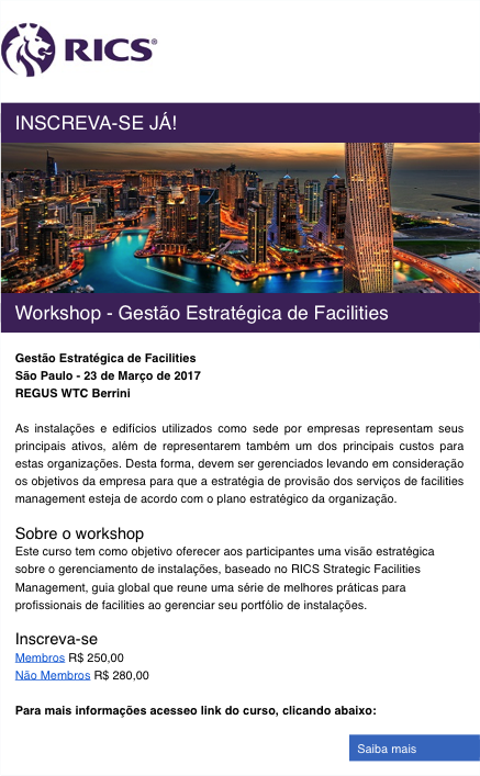 Workshop Gestão Estratégica de Facilities